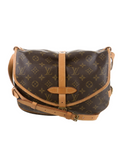 LOUIS VUITTON Women Canvas Monogram Leather Accents Shoulder Bag Saumur 30