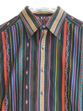 ROBERT GRAHAM Men Multi Color Stripes Design Long Sleeve Button Down Shirt M