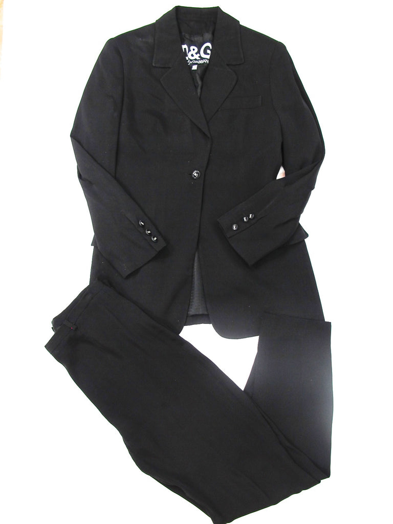 D&G DOLCE & GABBANA Women Classic Black Pants 32 Jacket 28 Suit 2 Piece Suit