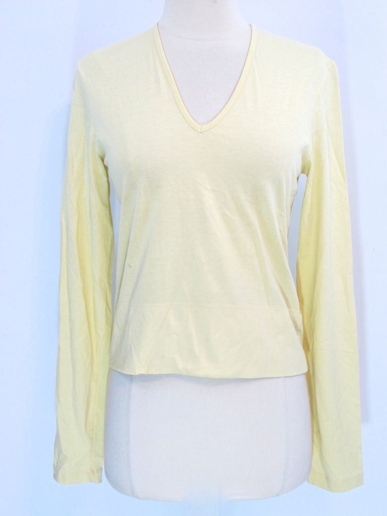 HUGO BOSS Women Yellow Long Sleeve V Neck Top Blouse Shirt V Neck Size Small