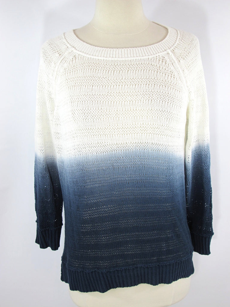 MICHAEL STARS Women White Ombre Blue Knit Sweater Top Crew Neck Loose Fit Sz 1