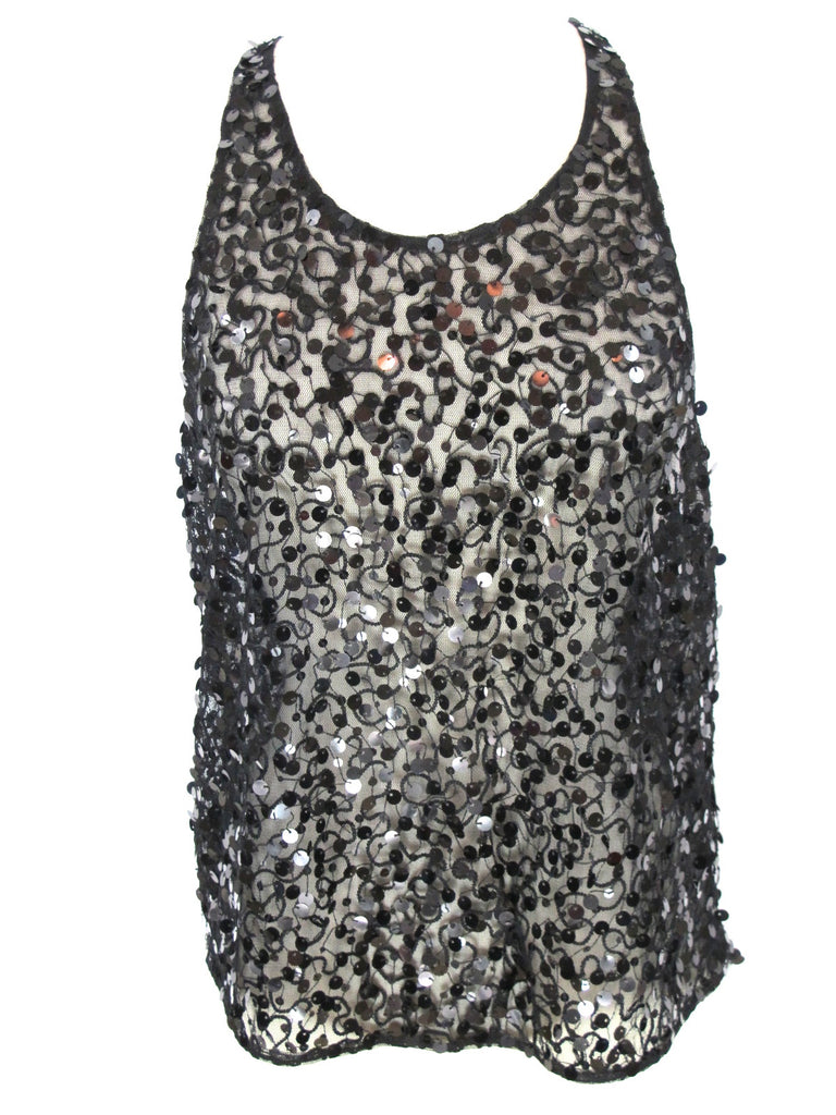 LA ROK Women Black Sequins Sheer Racer Back Sleeveless Tank Top Blouse Shirt XS