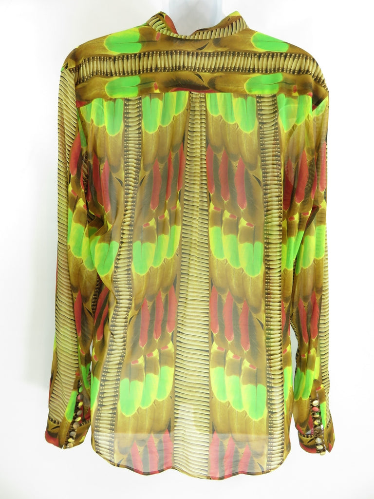 JOHN GALIANO Men Red Beige Green Yellow Pattern Long Sleeve Shirt 52