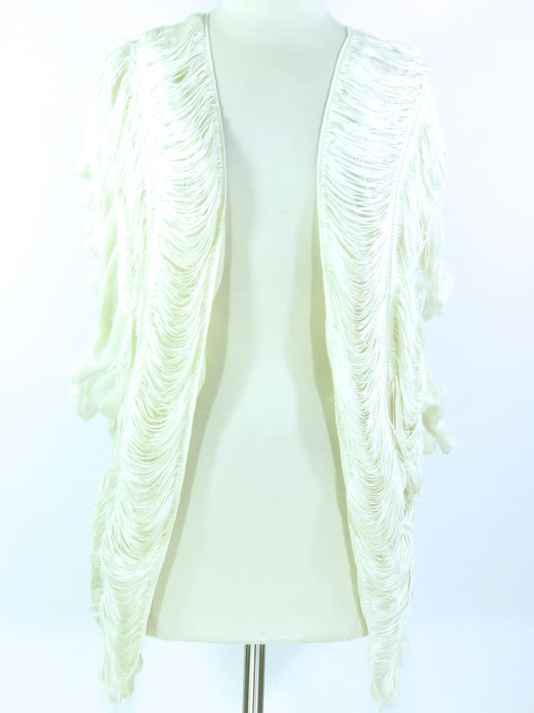 NEW! ALEXIS Women Ivory Off White Ruffle Knit Sleeveless Vest Cardigan RETS $295