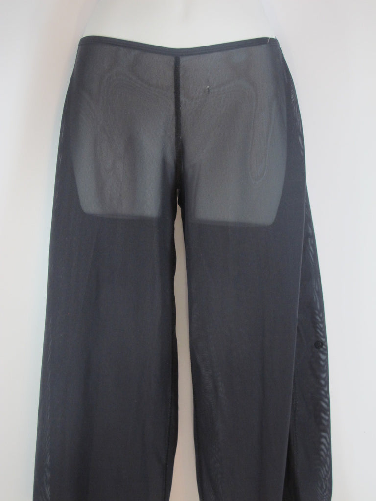 LULULEMON ATHLETICA Women Black Sheer Athletic Sports Wear Capri Wide Leg Pants