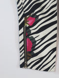 BETSEY JOHNSON Women Black White Pink Floral Stripes Bottom Pants Zippers