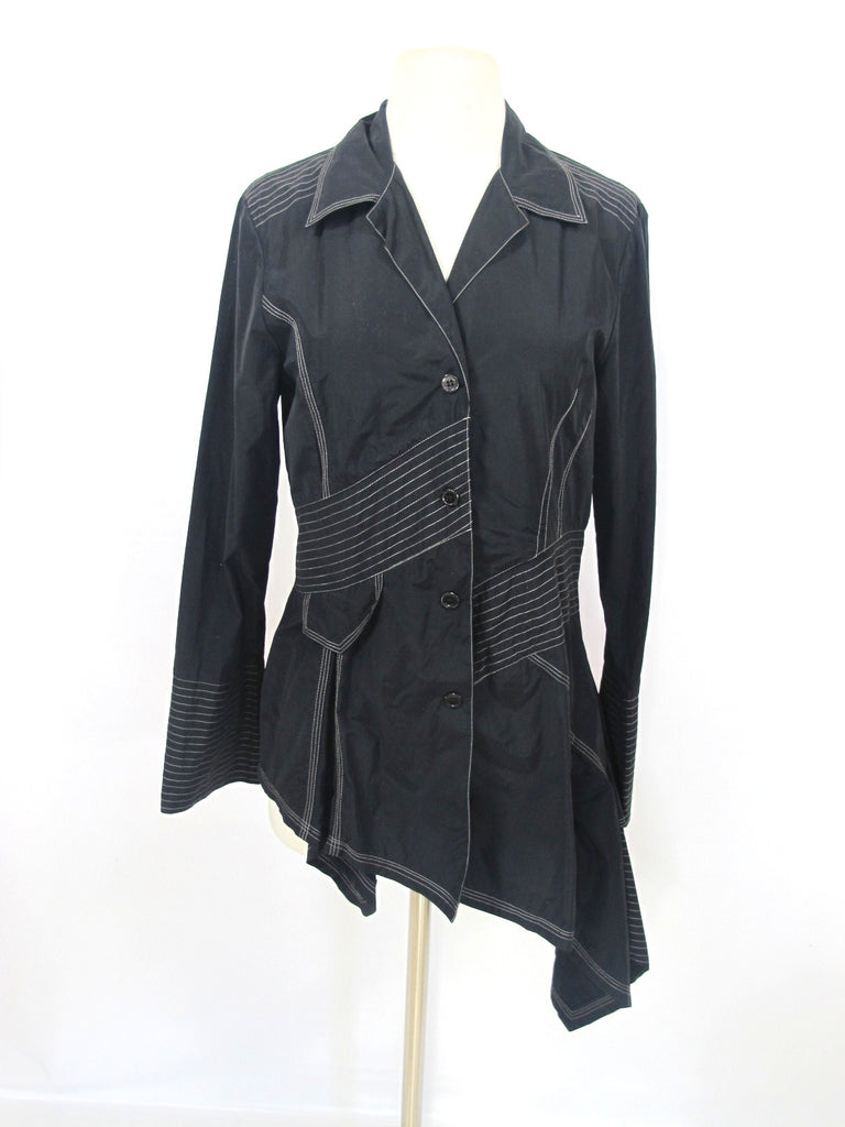 INDIES Women Black Asymmetrical Button Down Top Blouse Shirt Long Sleeve Size 2