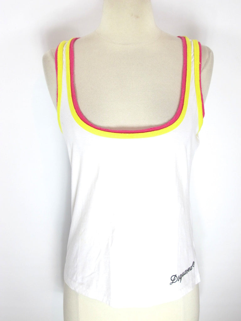 DSQUARED2 Women White Orange Yellow Trim Sleeveless Tank Top Blouse Shirt Size M