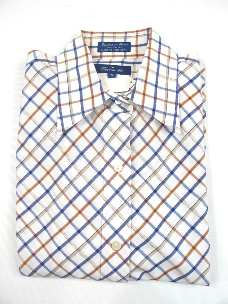 FACONNABLE Women White Blue Beige Plaid Fitted Button Down Shirt Blouse Top Sz S