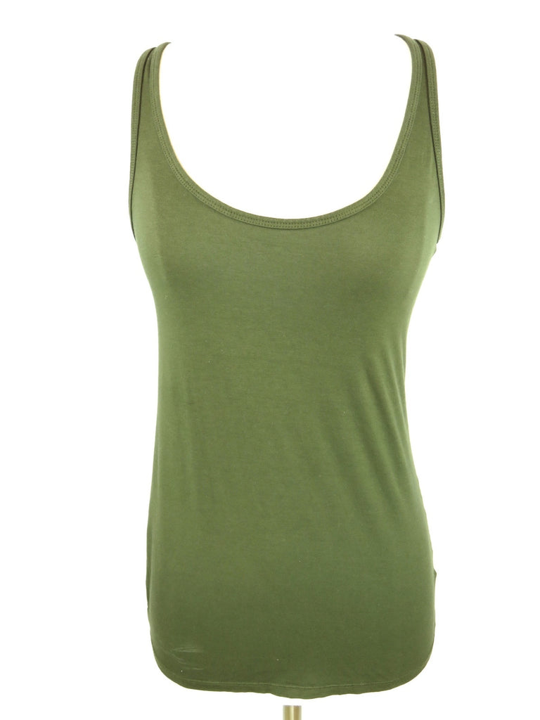 FEEL THE PEACE by TERRE JACOBS Women Green Sleeveless T Back Tank Top Shirt XS