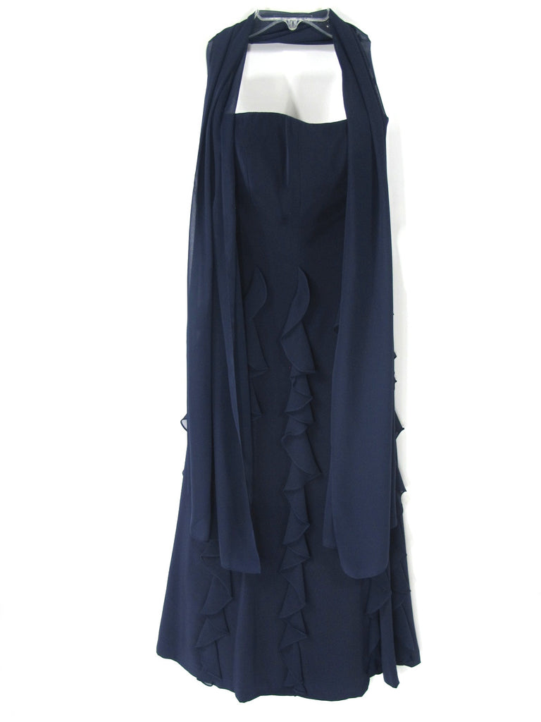 LILLIE RUBIN Women Blue Long Ruffles Strapless Evening Cocktail Dress W/Shawl 2