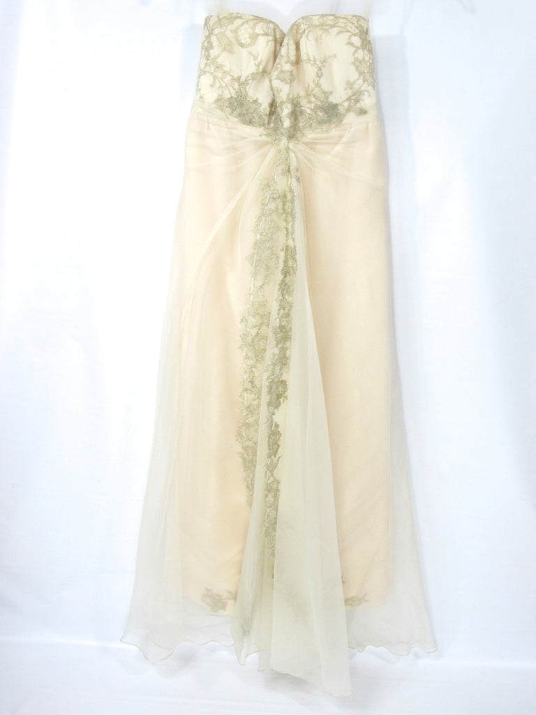 IVONNE D DE LA VEGA Women Ivory Beige Lace Silk Strapless Cocktai Evening Dress