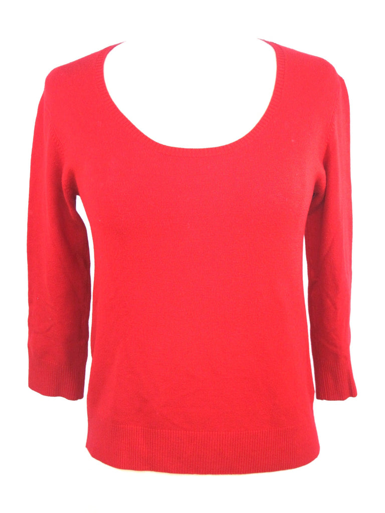 CYC Women Red Knit Boat Neck Sweater 3 / 4 Sleeve Top Shirt Pullover Size  Small