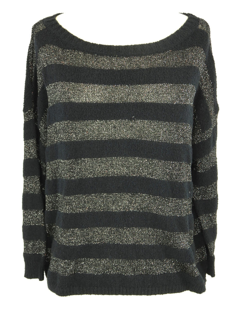 JOIE Women Black Gray Silver Stripes Boat Neck Knit Sweater Pullover Top Size S