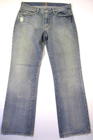 7 SEVEN FOR ALL MANKIND Men Jeans Size 33 Medium Wash Straight Leg Distressed 33