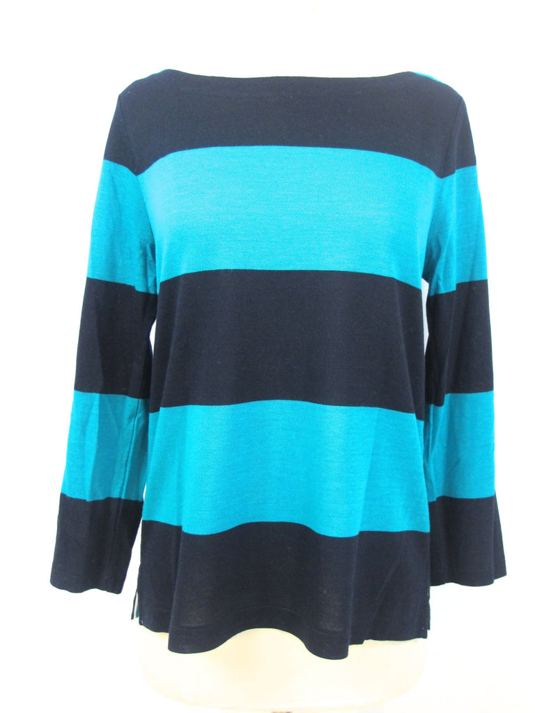 J. CREW Women Blue Aqua Stripes Knit Blouse Top Shirt Tunic Sweater Size Small S