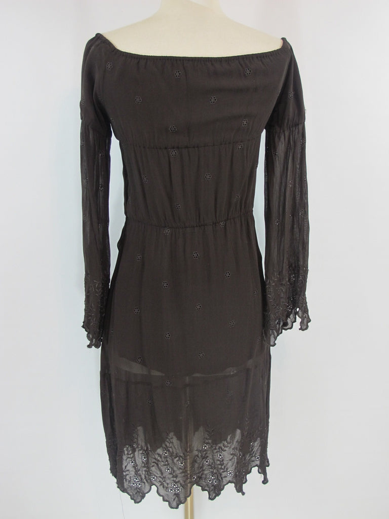 LALTRAMODA Women Brown Eyelet Embroidery Ruched Long Sleeve Dress Size 44