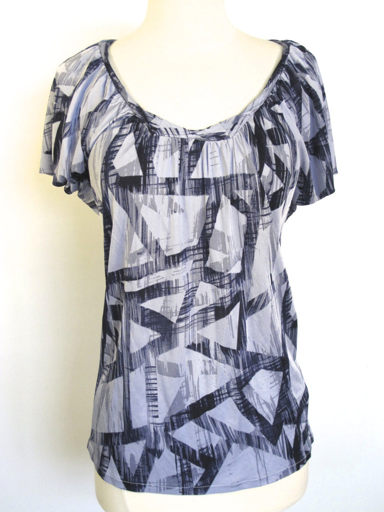 ARMANI EXCHANGE AX Women Short Sleeve Blouse Loose Fit Top Shirt Geometric Sz S