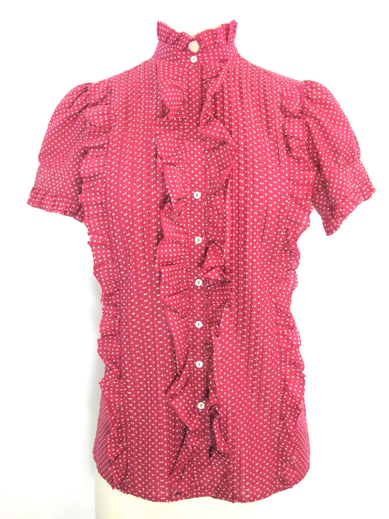 JOIE Women Pink White Polka Dots Button Down Ruffles Blouse Top Shirt Fitted XS