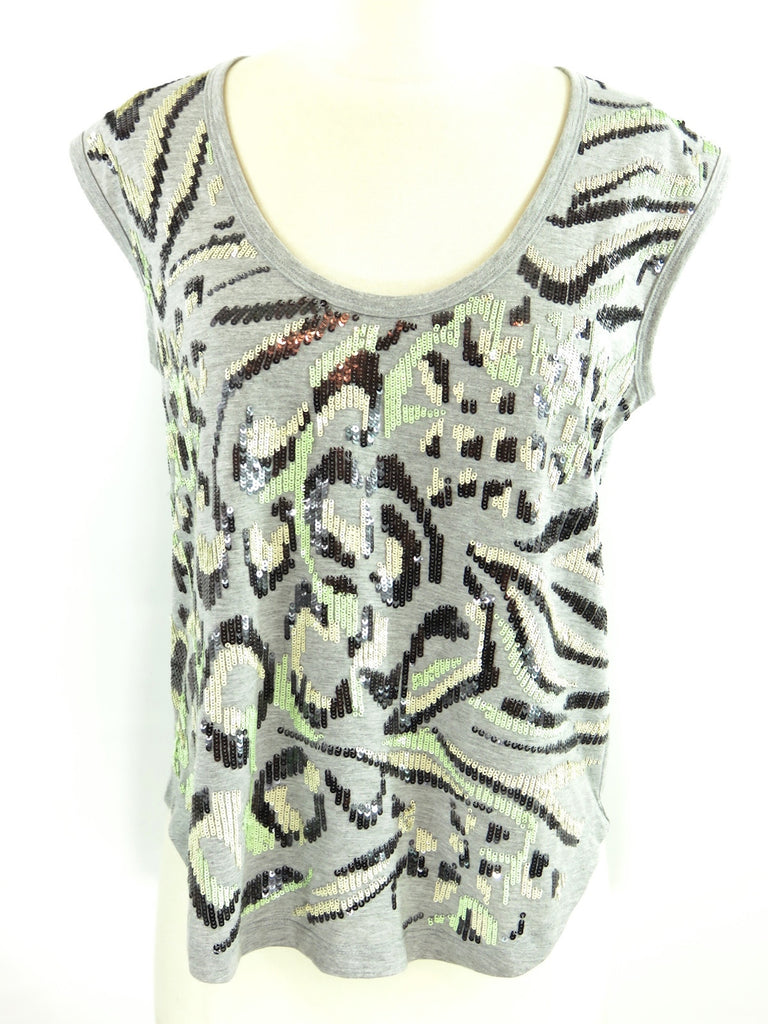MILLY Women Gray Green Black Peach Sequins Sleeveless Blouse Top Shirt Size S