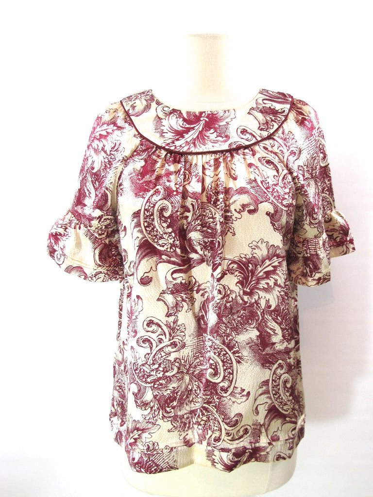 BCBG MAXAZRIA Women Red Off White Silk Pattern Blouse Shirt Top Short Sleeve XXS