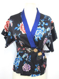 JUST CAVALLI Women Black Blue Pink Silk Floral Kimono Wrap Blouse Top Shirt  42