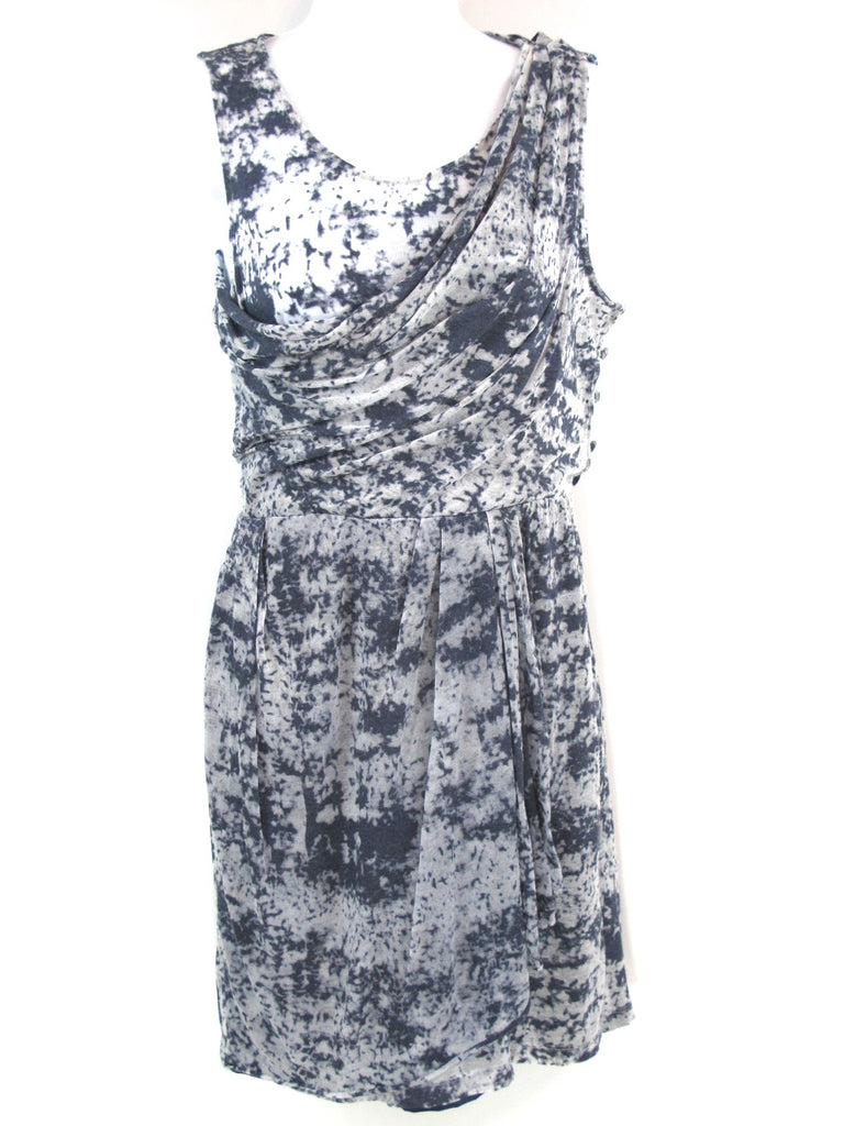 ALI RO Women Blue White Pattern Faux Wrap Sleeveless Draped Dress Ruched Waist 2