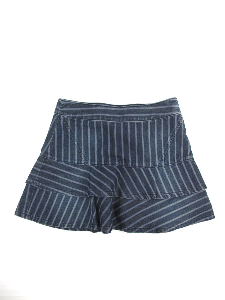 AX ARMANI EXCHANGE Women Blue Gray Stripes Ruffles Mini Bottom Skirt Size 0