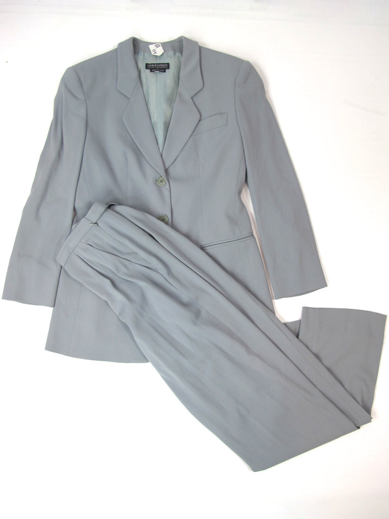 GIORGIO ARMANI Women Ash Blue Jacket sIZE 42 and Pants Size 38 Suit