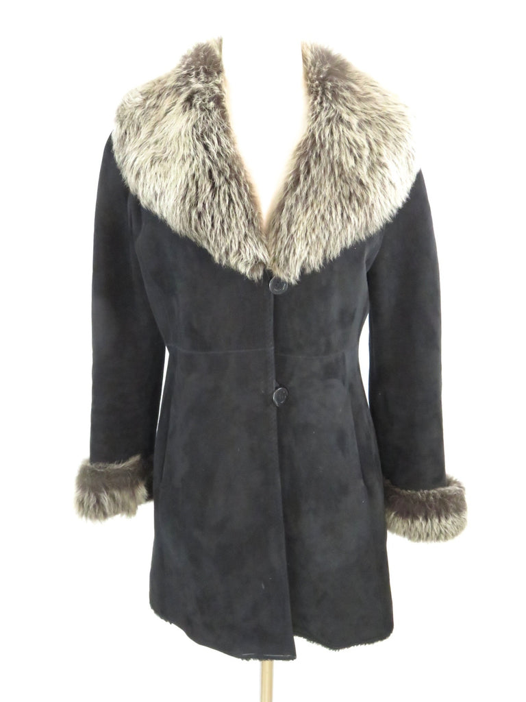 LOUIS DELL'OLIO STUDIO Women Suede & Fur Collar and Cuffs Coat Jacket Cover Up