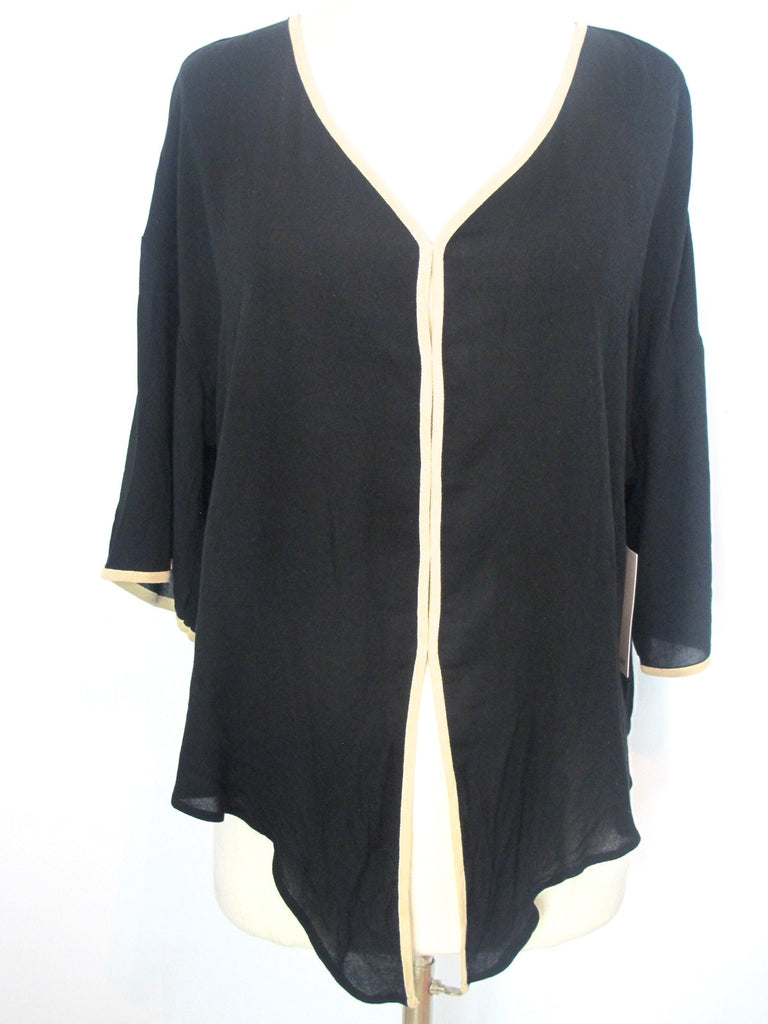 NEW! ELLA MOSS Women Black & Beige Trim Tunic Blouse Top Shirt 3/ 4 Sleeve Sz XS