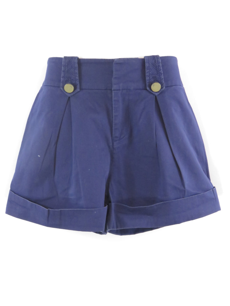 AX ARMANI EXCHANGE Women Blue Pleated Classic Elegant Shorts Pants Bottoms 4