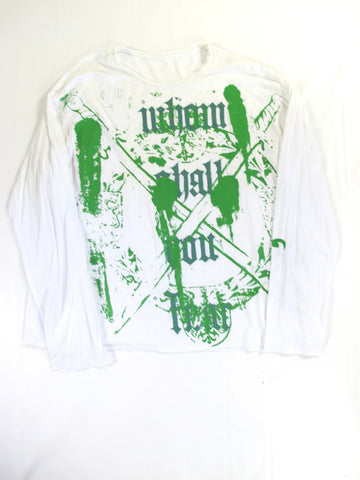 EDUN Men White Green Print Long Sleeve Graphic T Shirt Top Size XXL