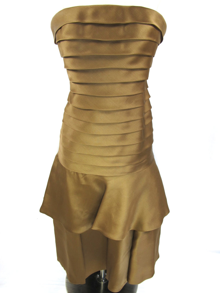CARMEN MARC VALVO Women Gold Bronze Ruffles Layers Strapless Evening Dress Shawl