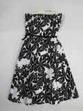 AQUA Women Black White Floral Print Strapless A Line Corset Skirt Dress Size XS