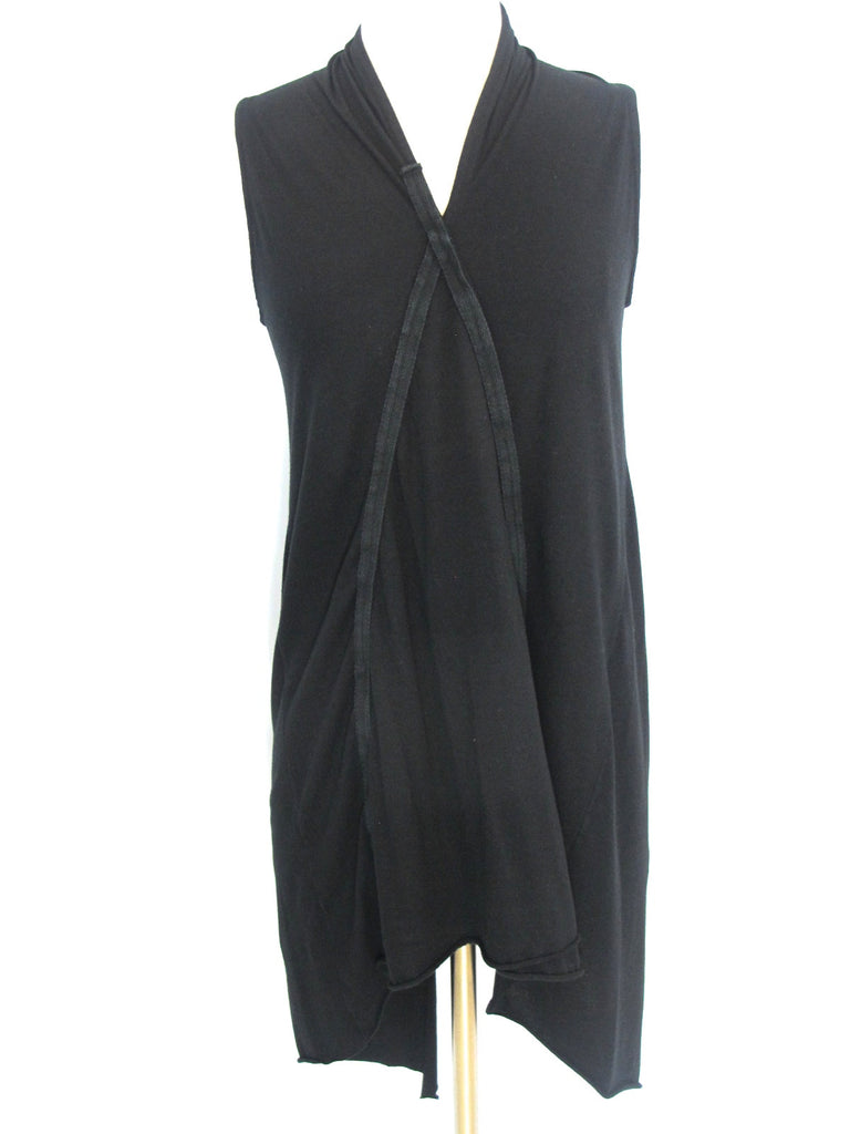 HOSTUME Women Black Asymmetric Sleeveless Back Slit Tank Top Tunic Dress Shirt 1