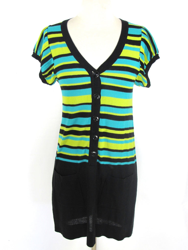 NANETTE LEPORE Women Knit Black Blue Green Mini Dress V Neck Short Sleeve XS