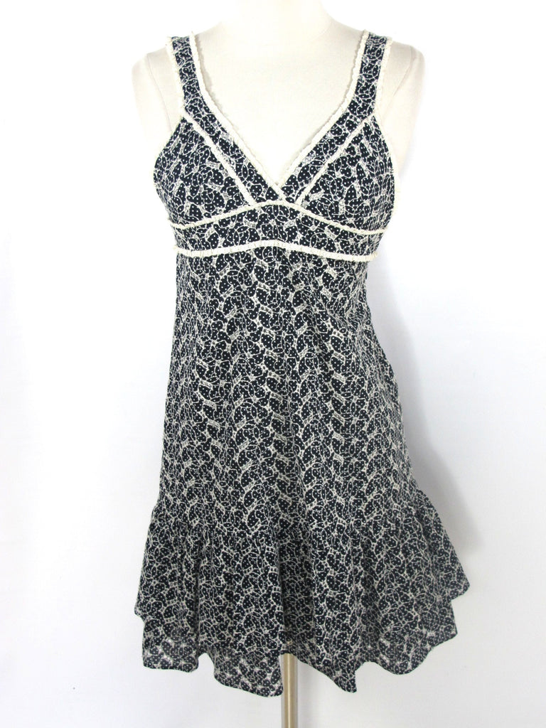 LAUREN MOFFATT Women Sleeveless Black White Sleeveless Sun Mini Dress Size 0