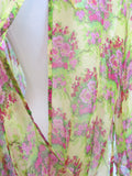 NEW! MANISHA PATEL Women Green Pink Floral Open Front Blouse Tunic Shirt M $95