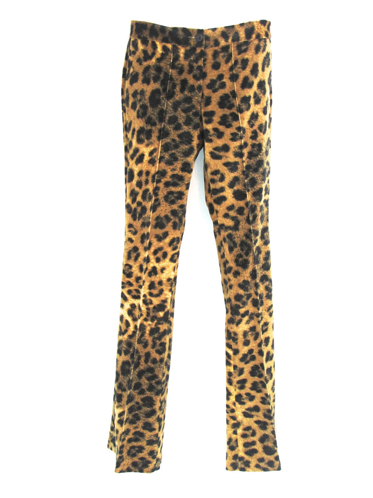 NEW! ETIQUETA NEGRA Women Brown Black Animal Print Skinny Slim Velour Pants XS