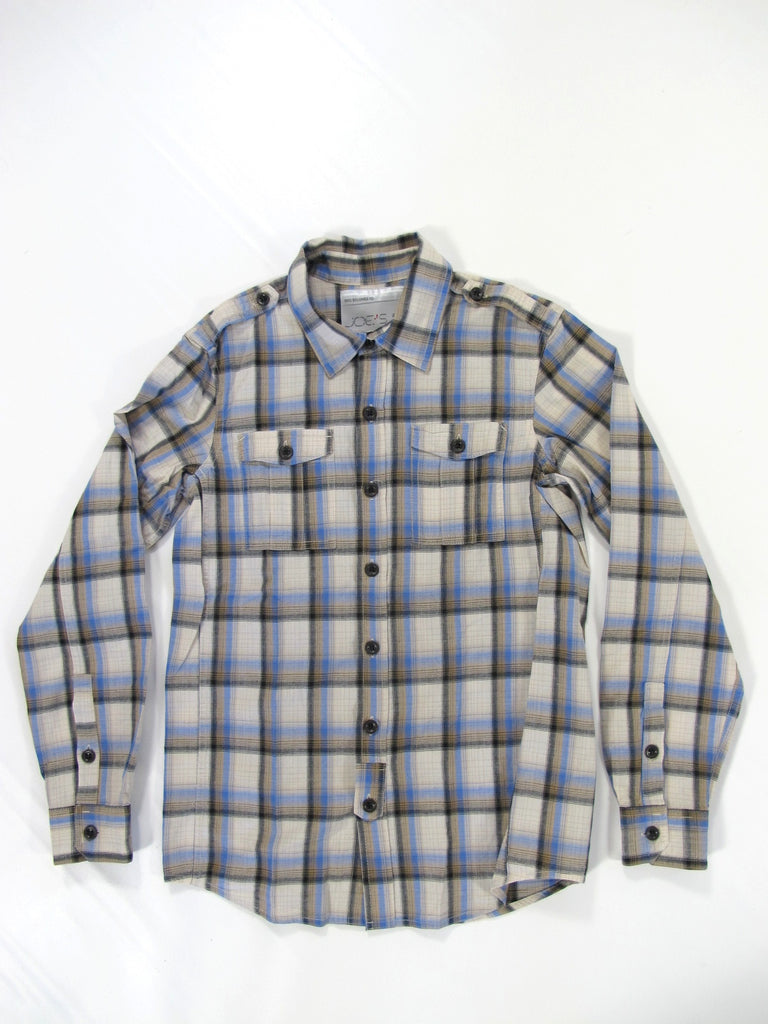 JOE'S Boys Blue Gray White Black Plaid Checks Button Down Polo Shirt Top Size S