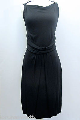 MOSCHINO Classic LBD Black Dress Belt Ruched Waist Little Black Dress Size 10