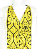 LE GARAGE Men Gold Black White Vest Button Down Print Design Size M