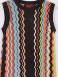 MISSONI Girls Iconic Chevron Pattern Sleeveless Knit Dress Size L