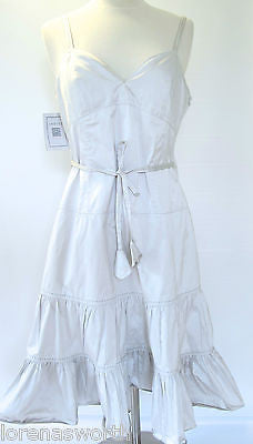 MEW! INDIES Satin Dress Silver Size 3 M-L Spaghetti Straps Full BodyRetail 448$