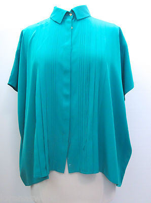 DVF DIANE VON FURSTENBERG Button Down Top Blouse Shirt P Aqua Green