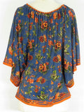 JEAN PAUL GAULTIER Women Blue Orange Green Floral Round Neck Flutter Tunic Top Size 4