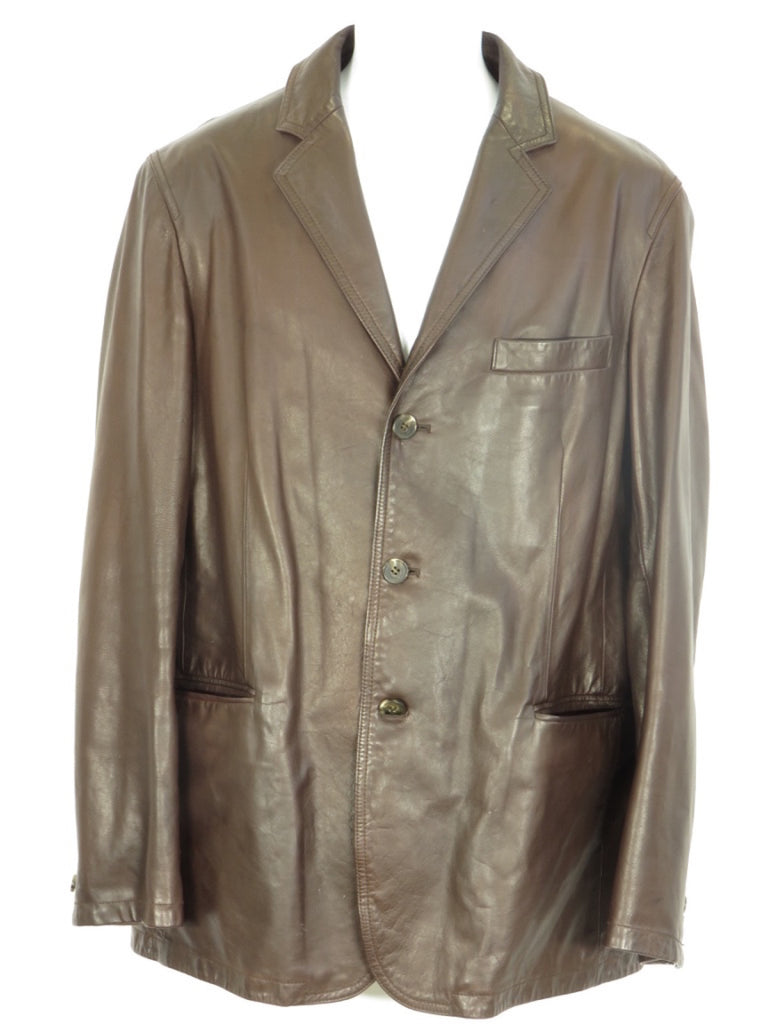 DKNY Donna Karan NY Men Brown Three Button Blazer Jacket Front Pocket Size S
