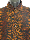 BURMA BIBAS Men Animal Print Browns Blacks Long Sleeve Button Down Shirt Size M