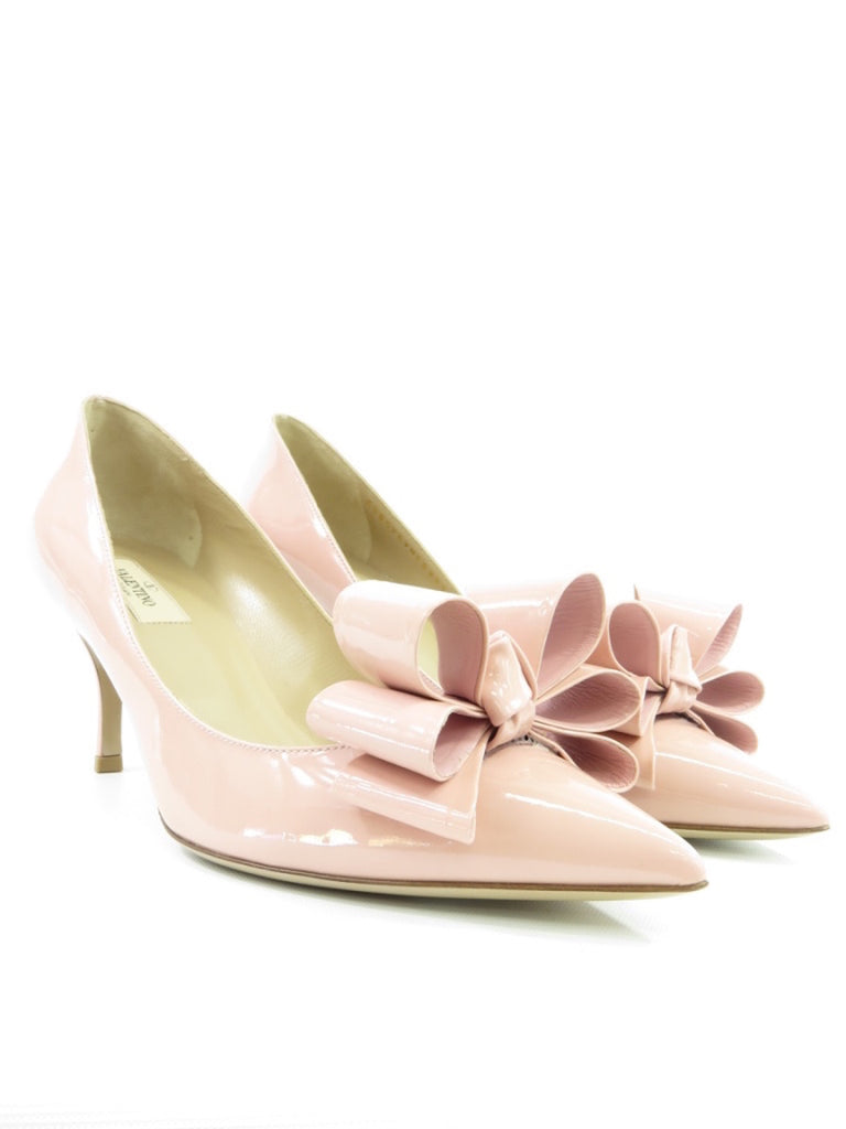 33ad97e9ce1 VALENTINO GARAVANI Women Pink Patent Leather Bow Pumps Heels Shoes Size 40  ...